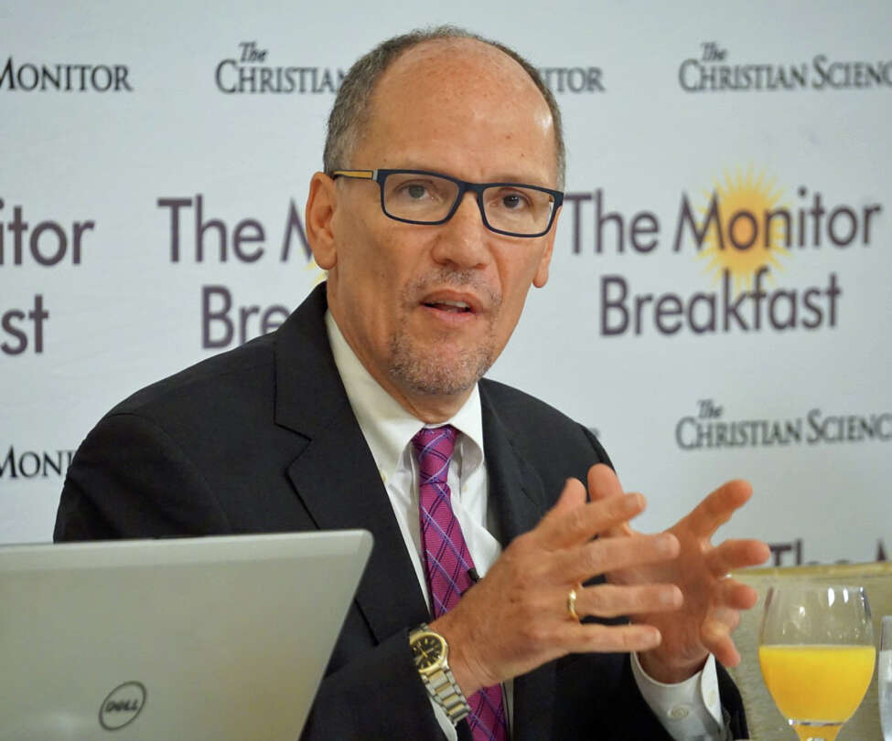 Tom Perez was elected chair of the Democratic National Committee in 2017. He spoke to reporters at a breakfast hosted by the Christian Science Monitor at the St. Regis Hotel in Washington, D.C. on Wednesday Nov. 6, 2019.
