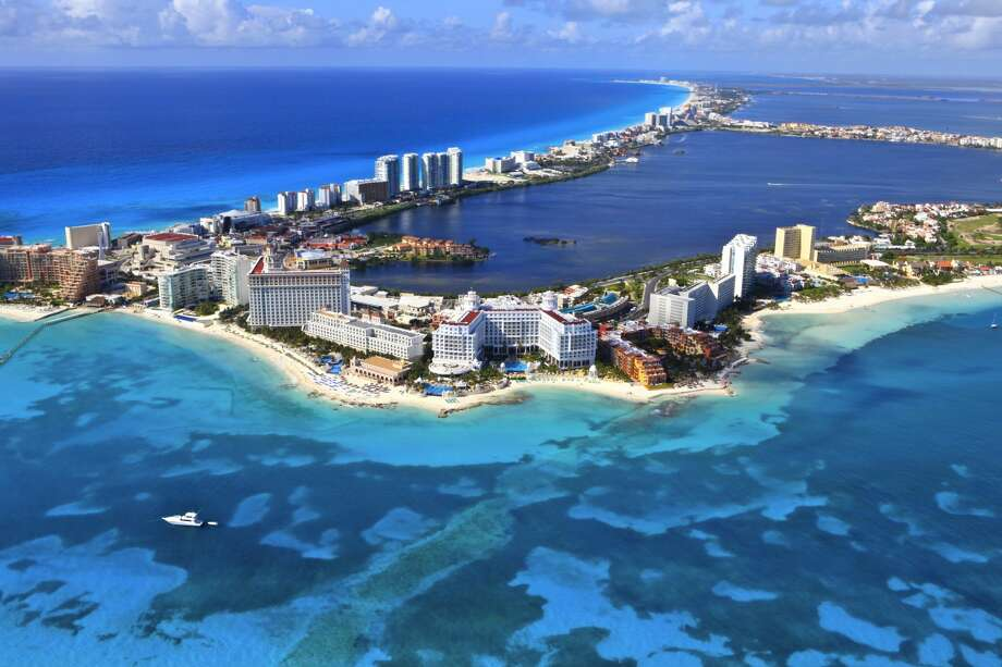 An aerial view of the resorts of Cancun, Mexico.