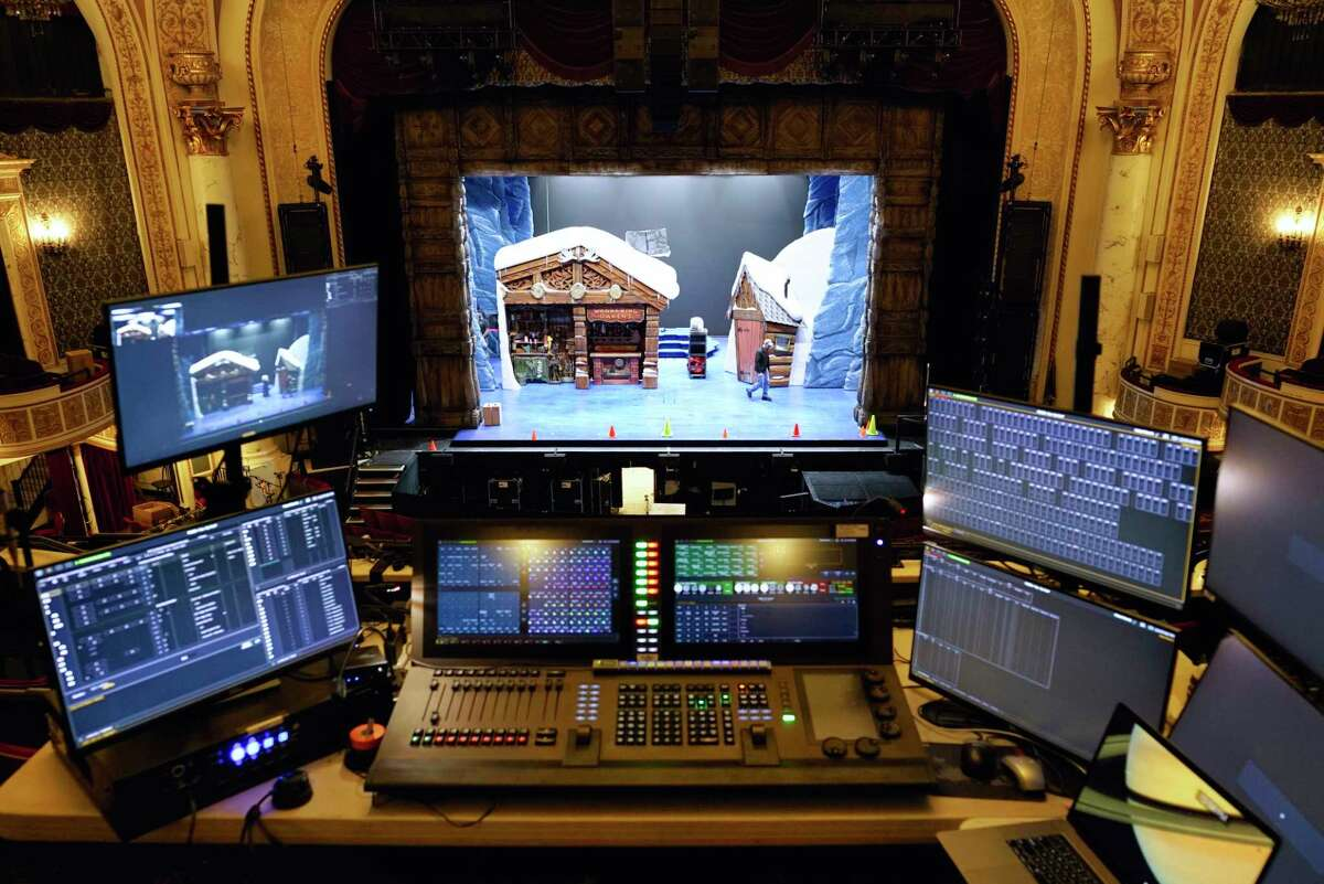 A view from the balcony inside Proctor's of equipment being used by members of the creative team and production staff that are teching the musical Frozen inside Proctor's on Tuesday, Oct. 22, 2019, in Schenectady, N.Y. (Paul Buckowski/Times Union)