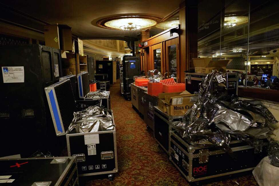 Crates of equipment are seen inside Proctor's on Tuesday, Oct. 22, 2019, in Schenectady, N.Y. Members of the creative team and production staff are teching the musical Frozen at Proctor's. (Paul Buckowski/Times Union)