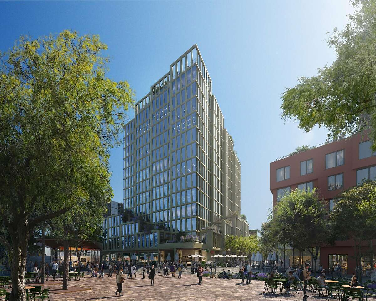 A rendering of Visa's future headquarters building at Mission Rock, the San Francisco Giant's waterfront project.