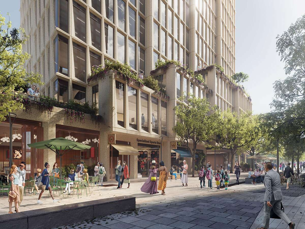 A rendering of the lower floors of Visa's future headquarters building in Mission Rock.
