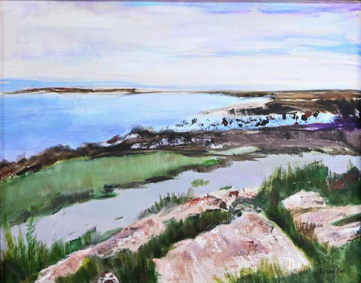 Symphony in Blue Water is by former Wilton artist Susan Acker Yun. It will be featured as part of the Harvest of Hues show at Wilton Library, opening Nov. 15.