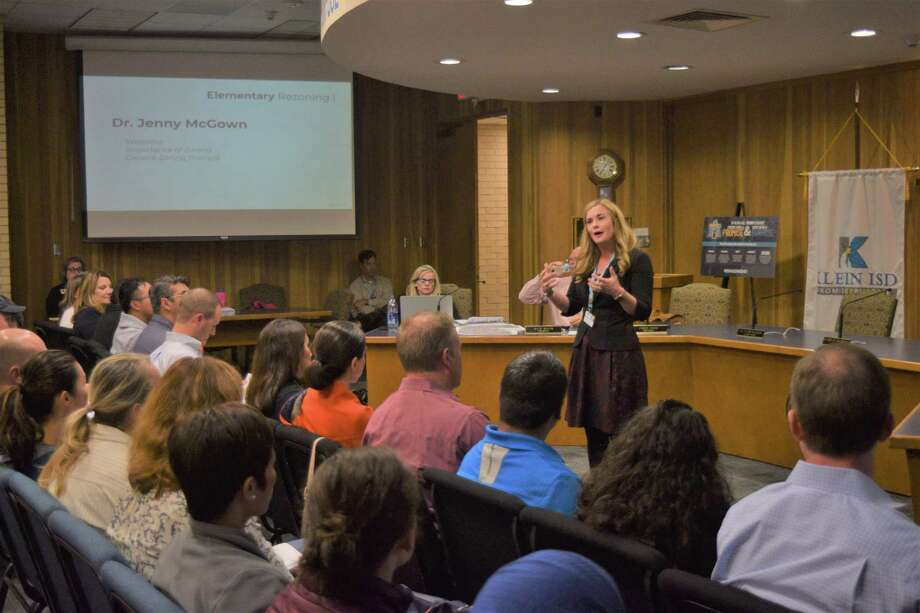 Jenny McGown, superintendent of Klein ISD, opened the public committee meeting for rezoning on Nov. 4, assuring attendees that no plans have been made final. Photo: Chevall Pryce