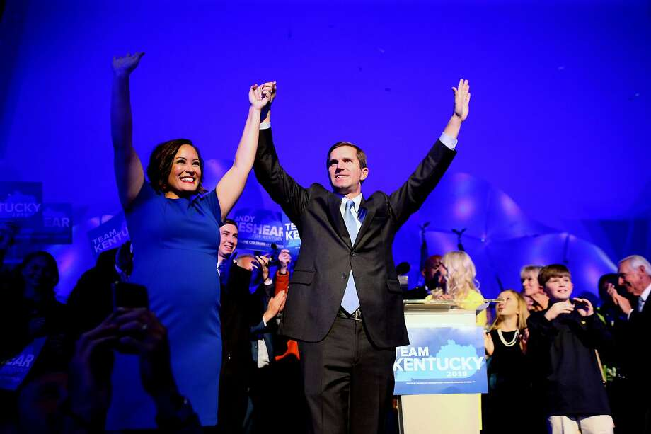 Accompanied by running mate Jacqueline Coleman, Kentucky Attorney General Andy Beshear declares victory over Matt Bevin. Photo: AARON BORTON;Aaron Borton / New York Times