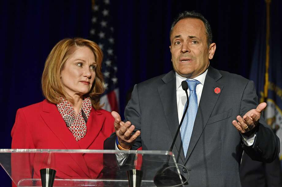 Kentucky Gov. Matt Bevin, who wrapped himself in the president's image, trails his Democratic rival in a tight race. Photo: Timothy D. Easley / Associated Press