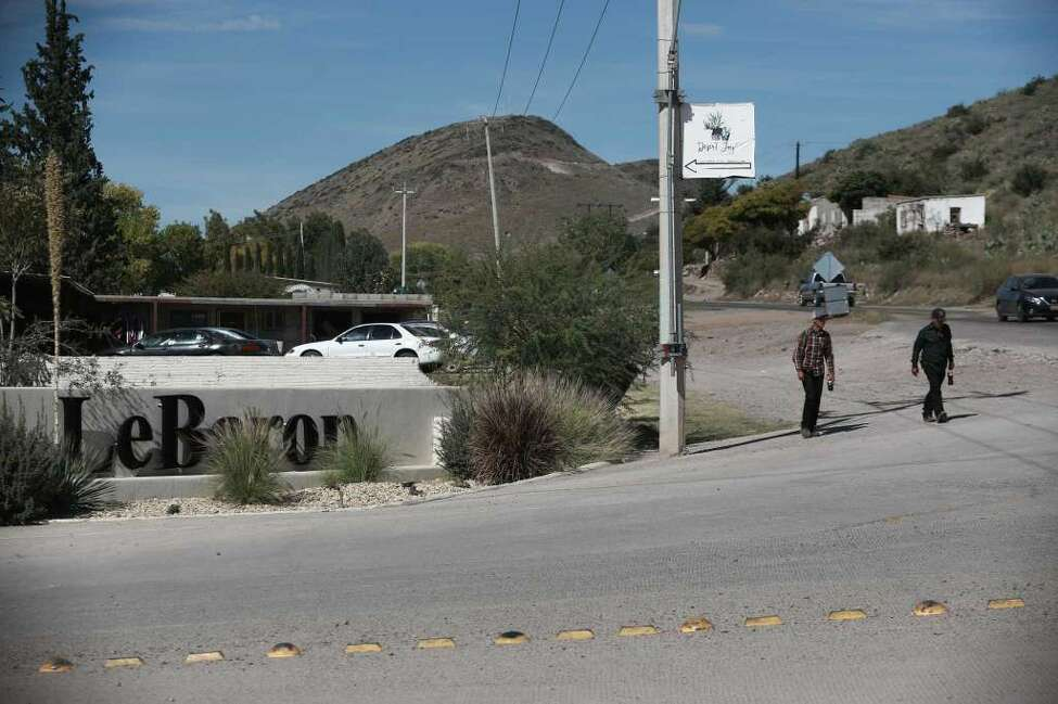 A sign announces the entry to Colonia LeBaron, one of many locations where the extended LeBaron family lives in the Galeana municipality of Chihuahua state, Mexico, Tuesday, Nov. 5, 2019. Drug cartel gunmen ambushed three vehicles along a road near the state border of Chihuahua and Sonora, slaughtering at least six children and three women, all of them U.S. citizens living in northern Mexico, authorities said Tuesday.