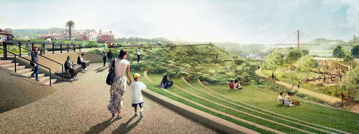 A rendering of the steps and walkway that will descend from the Main Post to Crissy Field in what is being called Tunnel Tops Park. The 14-acre park is being added to the Presidio, and is scheduled to open in the fall of 2021.