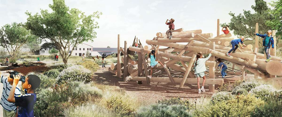 """The Presidio's new Tunnel Tops Park will include a large """"youth campus"""" that will include outdoor learning areas as well as large spaces intended to offer immersion in nature and play equipment that offers an element of risk. The 14-acre park has a $118 million budget and is scheduled to open in the fall of 2021."""