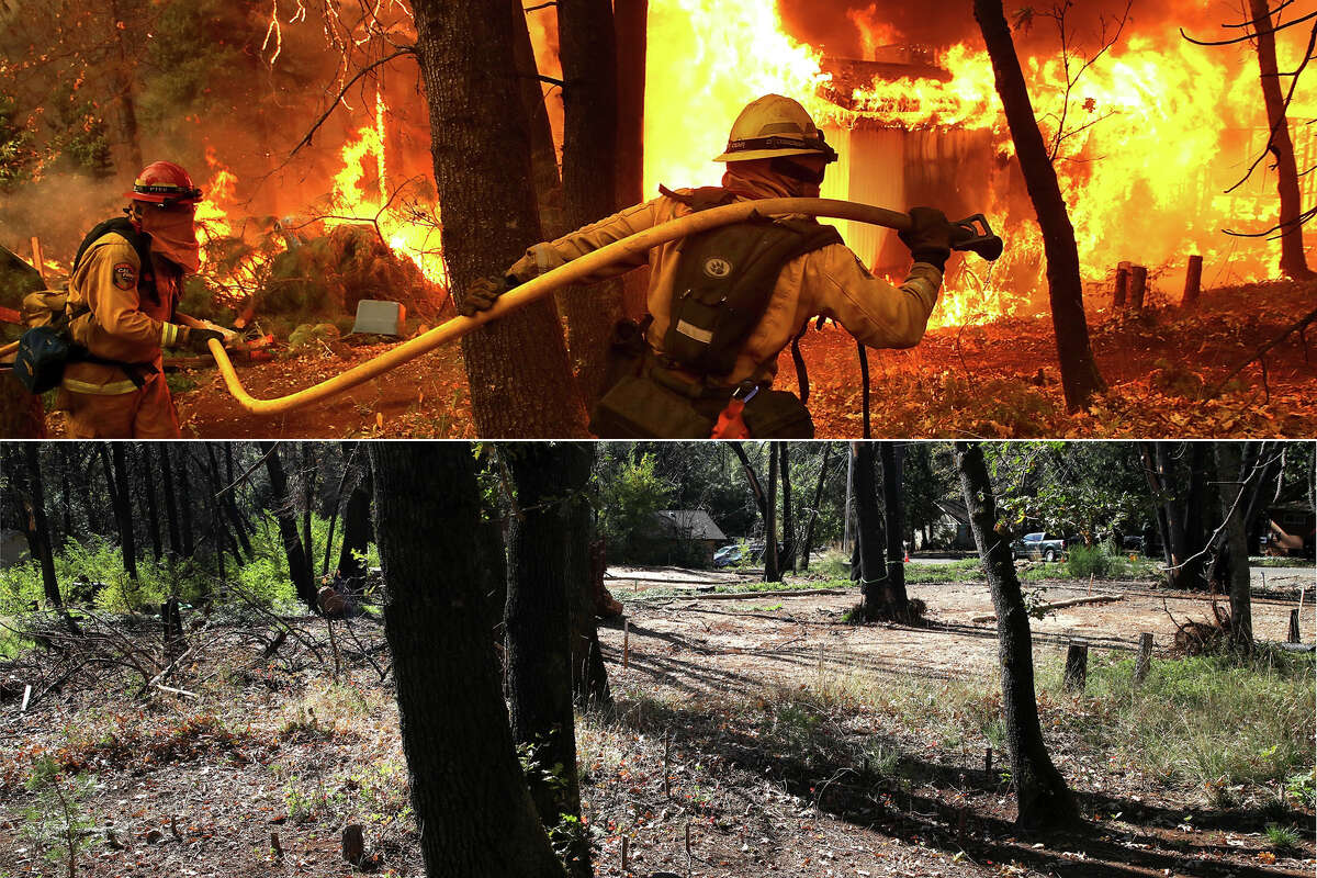 In this before-and-after composite image (left) a Cal Fire firefighter monitors a burning home as the Camp Fire moves through the area on November 9, 2018 in Magalia, California. On the right, a view of a lot where a home burned down during the Camp Fire on October 21, 2019 in Magalia, California. It has been one year since the the Camp Fire ripped through the town of Paradise, California charring over 150,000 acres, killed 85 people and destroyed over 18,000 homes and businesses.