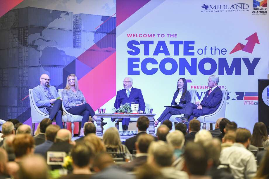 John Trichitti, III, from left, Tracee Bentley, Bobby Burns, Larissa Minjarez and Grant Billingsley discuss the State of the Economy on Wednesday, Nov. 6, 2019 at the Bush Convention Center.  Jacy Lewis/Reporter-Telegram Photo: Jacy Lewis/Reporter-Telegram