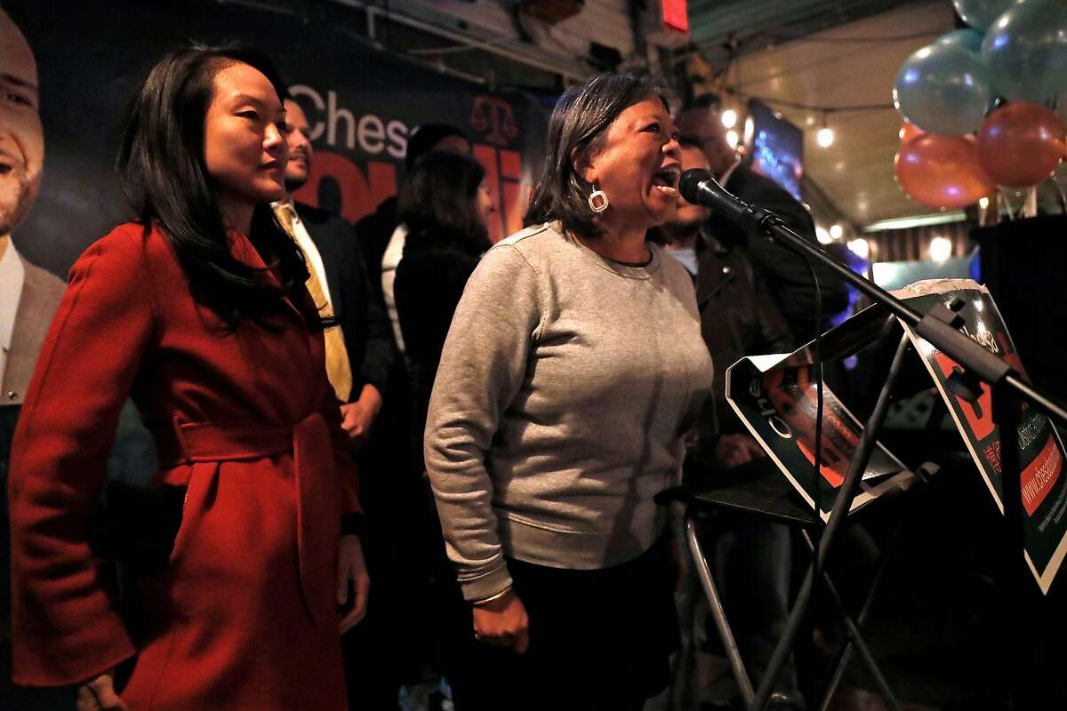 SF Supervisor Sandra Lee Fewer speaks during SF District Attorney candidate Chesa Boudin's election night party at SOMA StrEat Food Park in San Francisco, Calif., on Tuesday, November 5, 2019.
