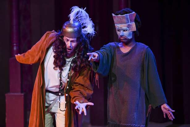 """Walter Jacob as Nick Bottom and Shunte Lofton as a wall, with the Texas Shakespeare Festival, perform in ?""""A Midsummer Night?•s Dream?• for school children on Monday, Nov. 4, 2019 at the Globe. Jacy Lewis/Reporter-Telegram"""