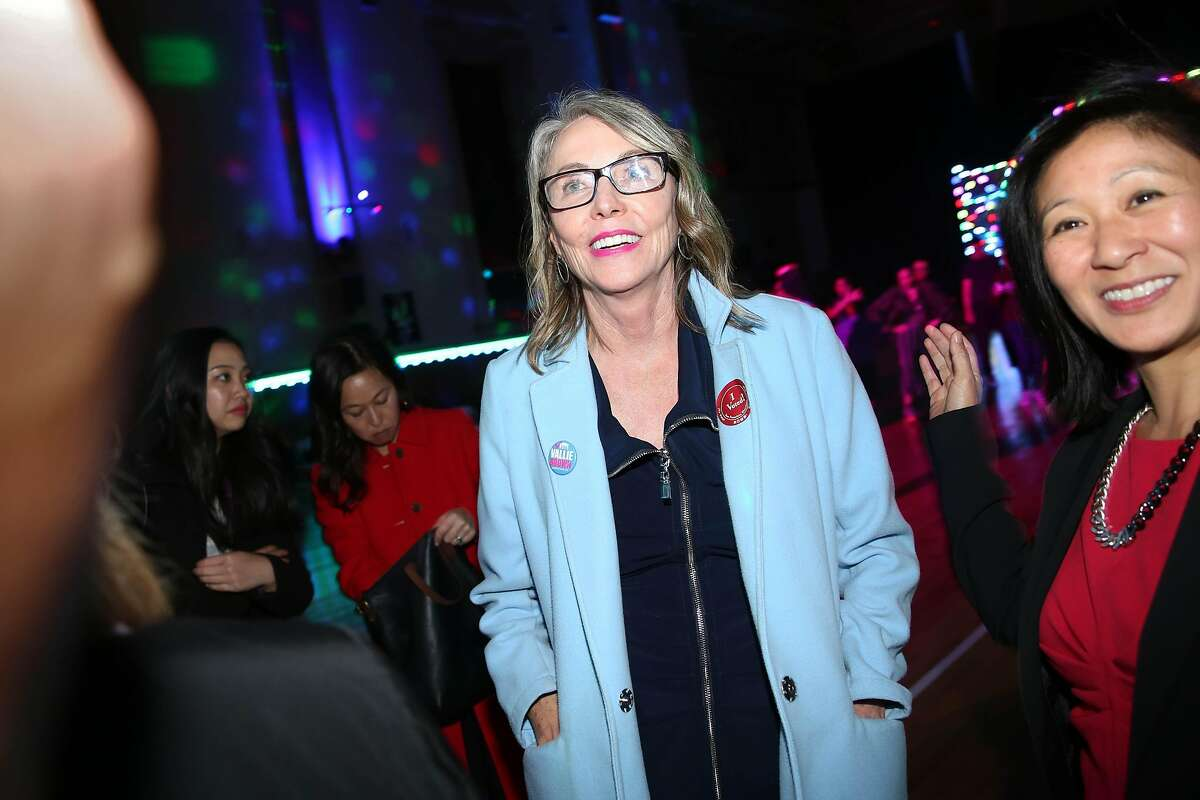 Supervisor Vallie Brown talks with supporters during Brown's watch party at Church of Eight Wheels on Tuesday, November 5, 2019 in San Francisco, Calif.