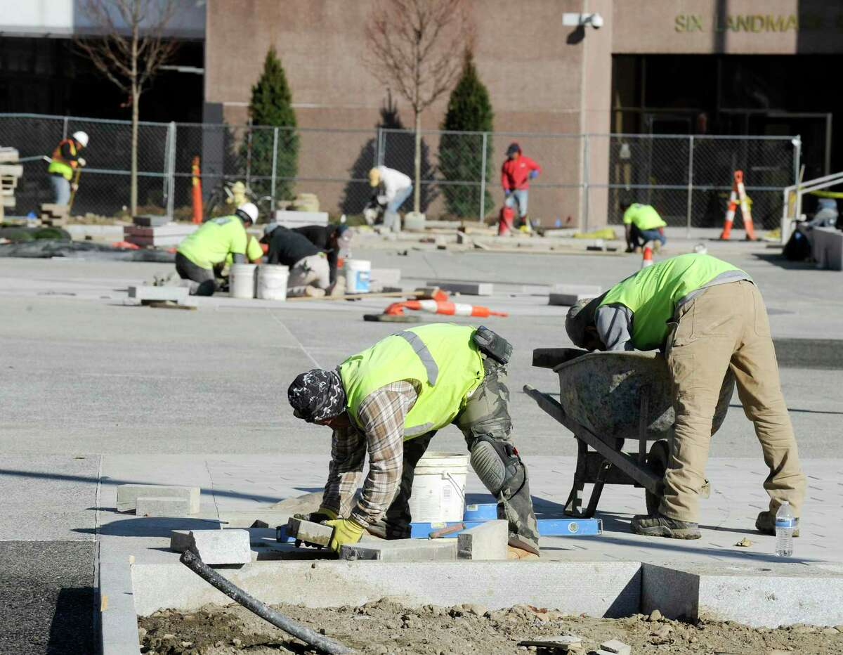 Workers continue to finalize renovation work to Stamford's Veterans Park on Nov. 6, 2019 in Stamford, Connecticut.