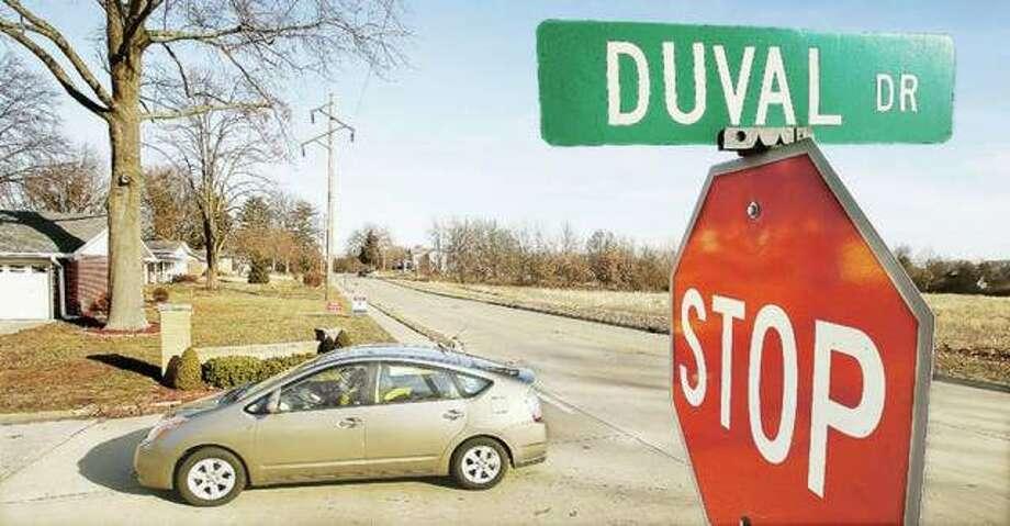 In this January file photo, motorist turns onto Duval Drive in Godfrey. Photo: John Badman | Telegraph File Photo