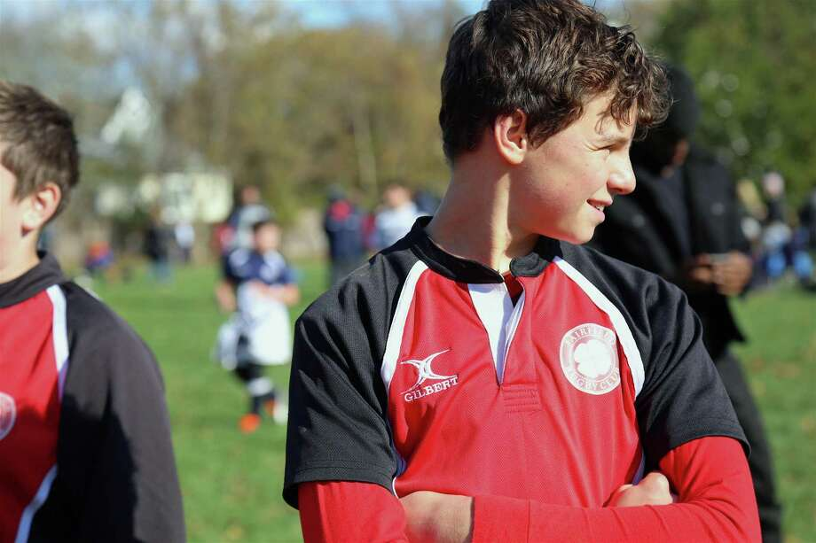 Landon Arsenault, 14, of Fairfield in between games at the Youth Rugby Program's tournament on Sunday, Nov. 3, 2019, at Veterans Park in Fairfield, Conn. Photo: Jarret Liotta / Jarret Liotta / ©Jarret Liotta