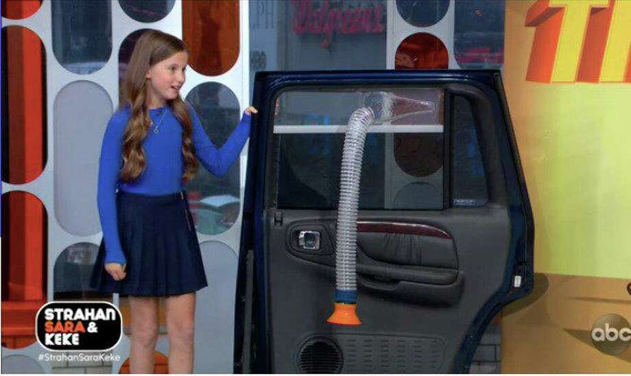 "Olivia Cohn, a 11-year-old Westport resident, showcases her invention titled the ""happy ride"" on Good Morning America. Photo: Good Morning America"