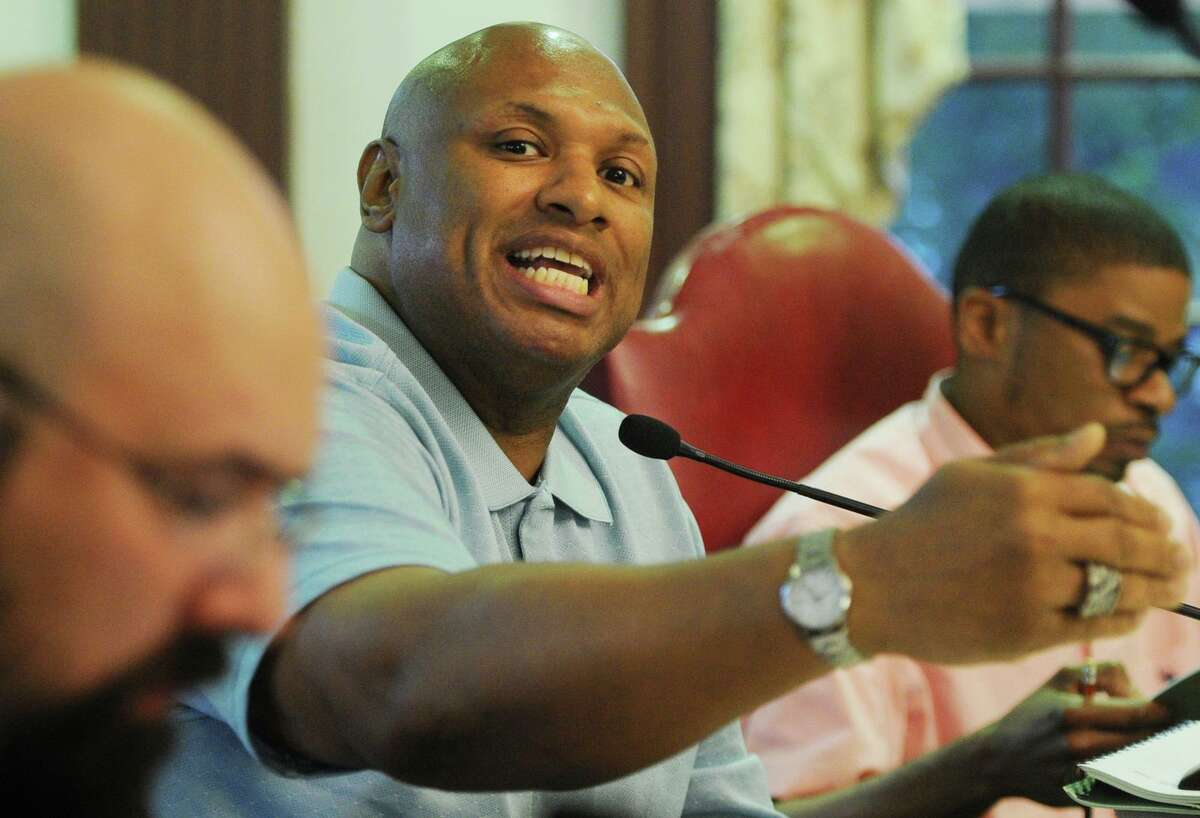 FILE PHOTO: Stratford Town Council member Wali Kadeem addresses the town budget during the group's deliberations at Town Hall in Stratford, Conn. on Monday, June 12, 2017.