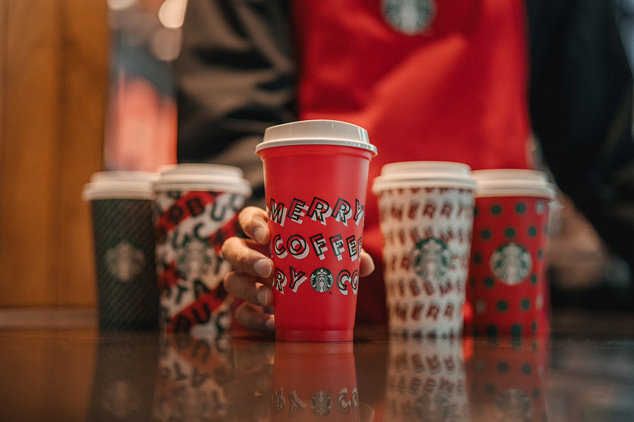 Get a free reusable cup Thursday for the first day of Starbucks' holiday season