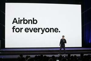 FILE - In this Feb. 22, 2018, file photo, Airbnb co-founder and CEO Brian Chesky speaks during an event in San Francisco. Airbnb says it will spend the next year verifying all 7 million of its listings as it works to improve user trust. Chesky said the company is also launching a 24-hour hotline for guests, neighbors and others to report problems. (AP Photo/Eric Risberg, File)