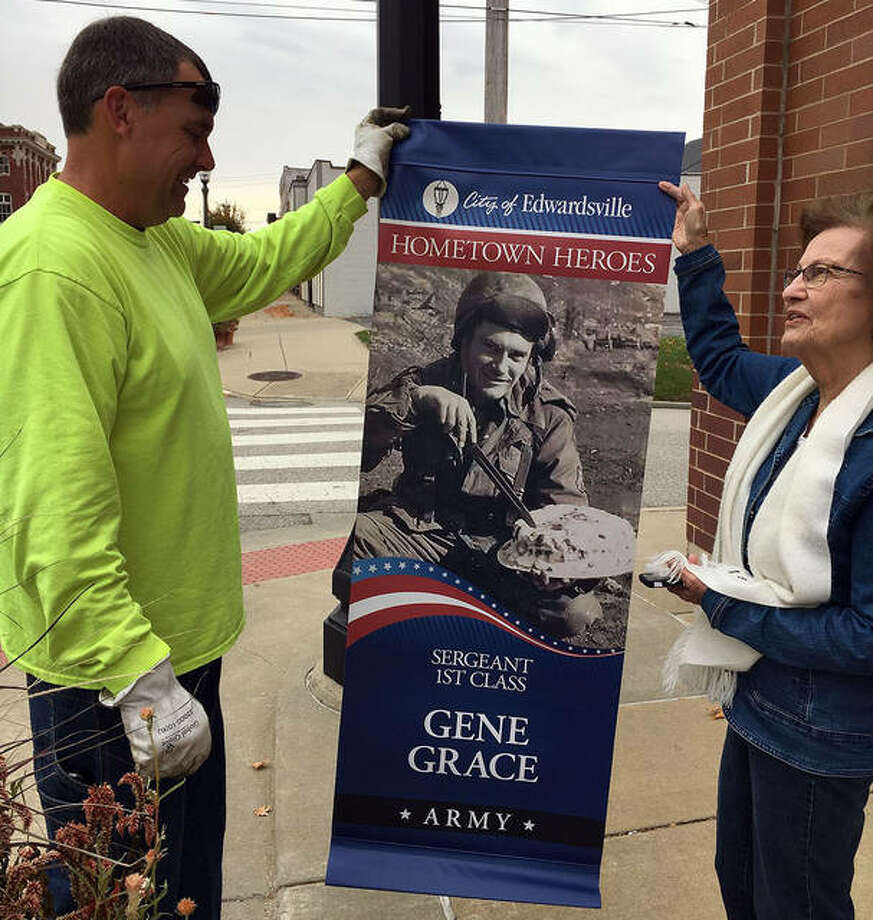 City employees hung 59 Veterans Day banners Monday. Photo: Courtesy Of City Of Edwardsville
