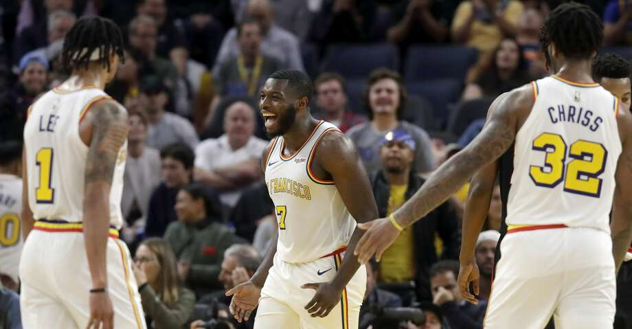 PHOTOS: Rockets game-by-game Golden State Warriors forward Eric Paschall (7) celebrates with guard Damion Lee (1) and forward Marquese Chriss (32) during the second half of an NBA basketball game against the Portland Trail Blazers in San Francisco, Monday, Nov. 4, 2019. (AP Photo/Jeff Chiu) Browse through the photos to see how the Rockets have fared in each game this season. Photo: Jeff Chiu/Associated Press