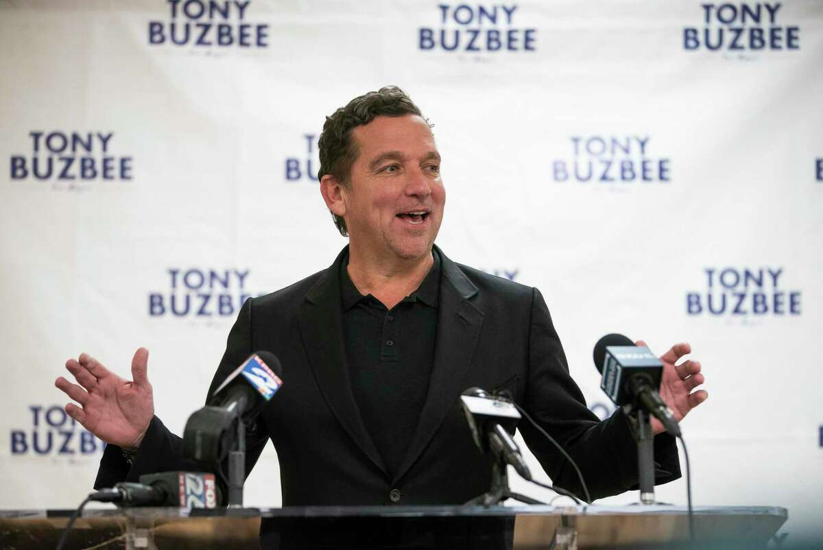 Houston mayoral candidate Tony Buzbee holds a press conference to talk about the results of Tuesday's election at his campaign headquarters in Houston, Wednesday, Nov. 6, 2019.