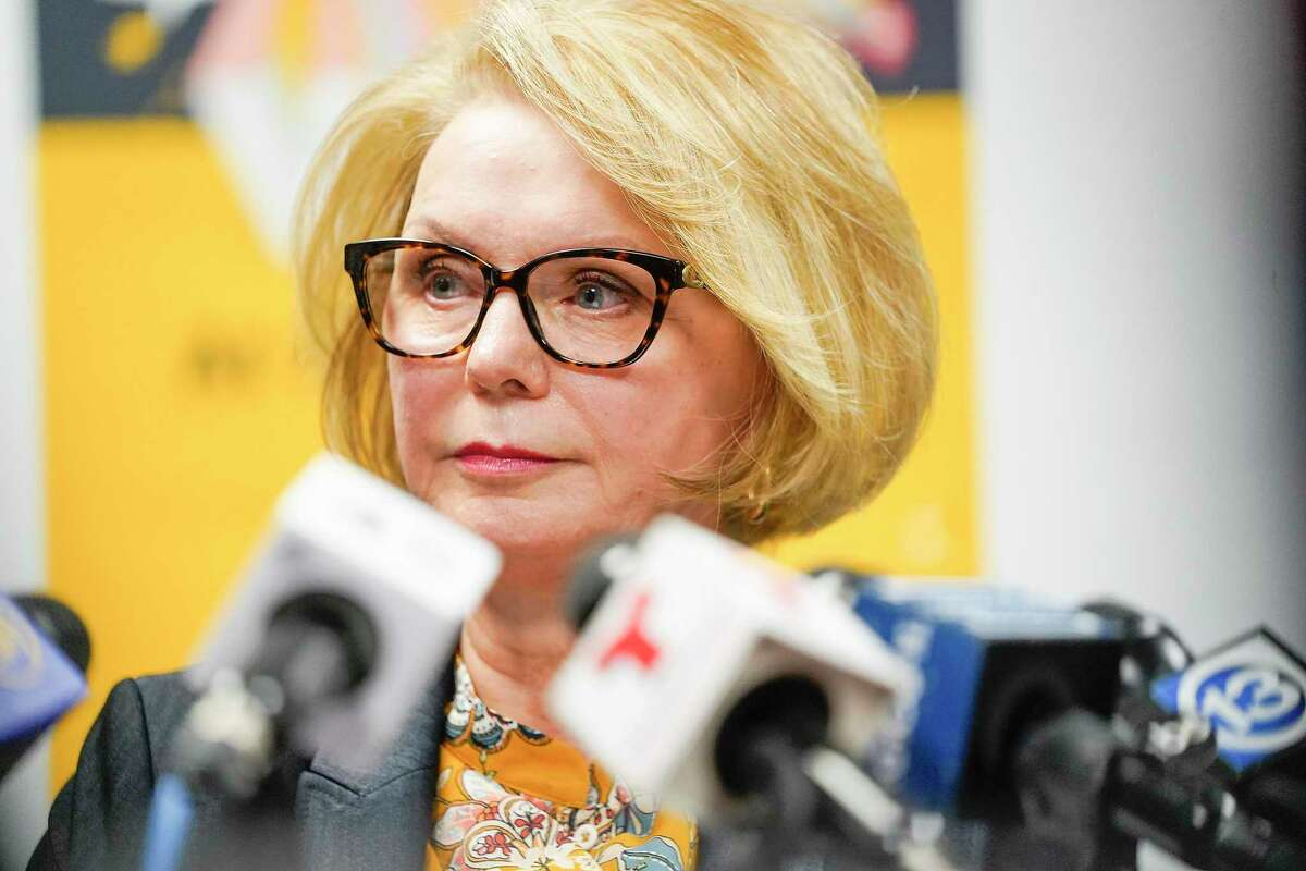 Harris County Clerk Diane Trautman talks to the media addressing the delayed voting results on Wednesday, Nov. 6, 2019 in Houston. Trautman earlier this month resigned her post, effect May 31, because of undisclosed health concerns.