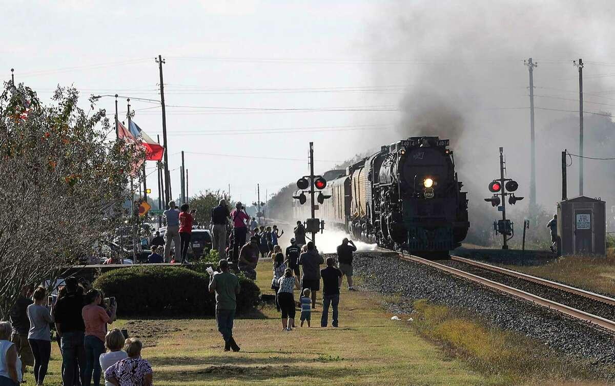 Union Pacific engine 4014, aka the Big Boy, passes through East Bernard on Wednesday, Nov. 6, 2019.