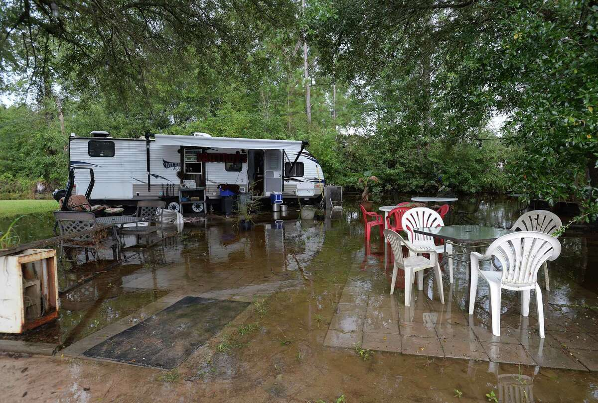"""Water surrounds Vautrot's Cajun Cuisine and resulted in minor flooding inside the food truck out of which the restaurant has been operating since losing the original building during Harvey two years ago. They are still in the process of building their new restaurant and just received the final installment of their SBA loan two weeks ago. Owner Martha Vautrot says this is the sixth disaster which she has endured and from which they will be cleaning up again. She was shocked to see Imelda and the major flooding that indundated the region again. """"You live through it once, and you think it'll never happen again. And you pinch yourself because you can't believe it's happening again. I told someone 'Harvey sent his wife Imelda to finish up what he didn't finish.'"""""""