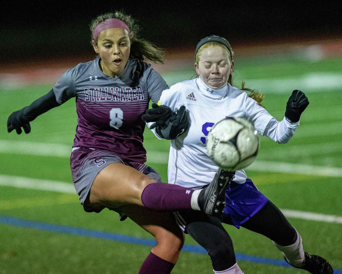 Stillwater defender Marley Mueller gets a toe on the ball in front of Voorheesville forward Amanda Gillenwalters during the Section II, Class C finals at Mechanicville High School on Wednesday, Nov. 6, 2019 (Jim Franco/Special to the Times Union.)