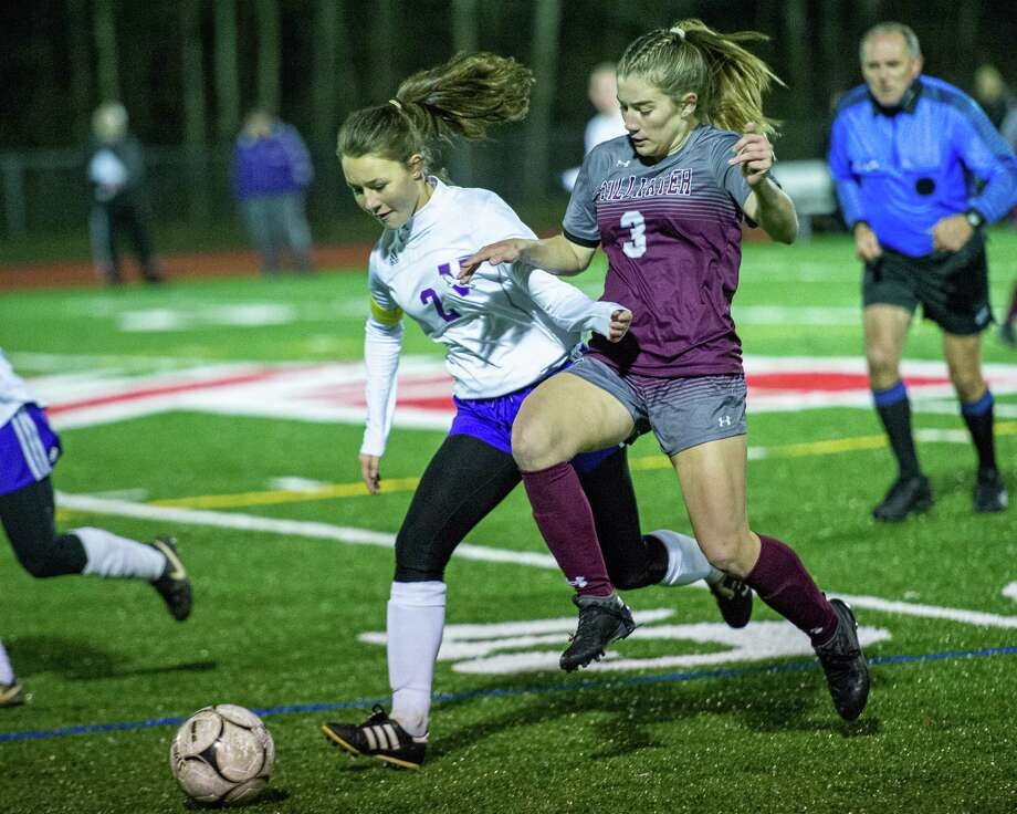Voorheesville midfielder Julia Gleasman battles with Stillwater Forward Brooke Pickett during the Section II, Class C finals at Mechanicville High School on Wednesday, Nov. 6, 2019 (Jim Franco/Special to the Times Union.) Photo: James Franco / 40048206A