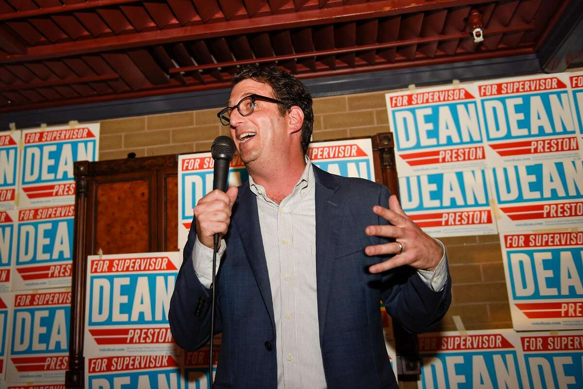 District Five Candidate Dean Preston speaks at his campaign watch party at Noir Lounge in Hayes Valley on November 05, 2019 in San Francisco, Calif.