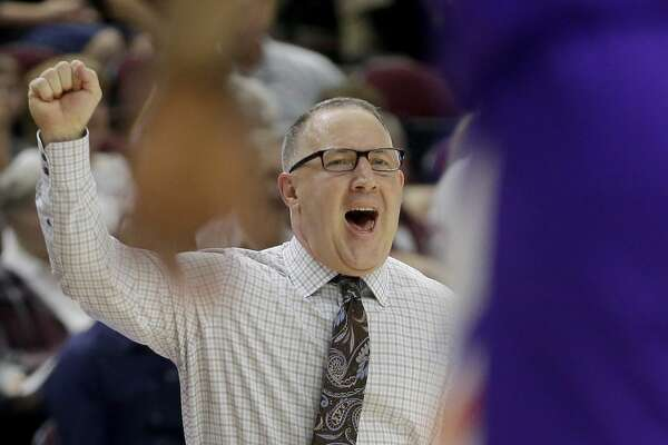 Texas A&M head coach Buzz Williams calls a defensive play against Northwestern State during the first half of an NCAA college basketball game Wednesday, Nov. 6, 2019, in College Station, Texas. (AP Photo/Sam Craft)