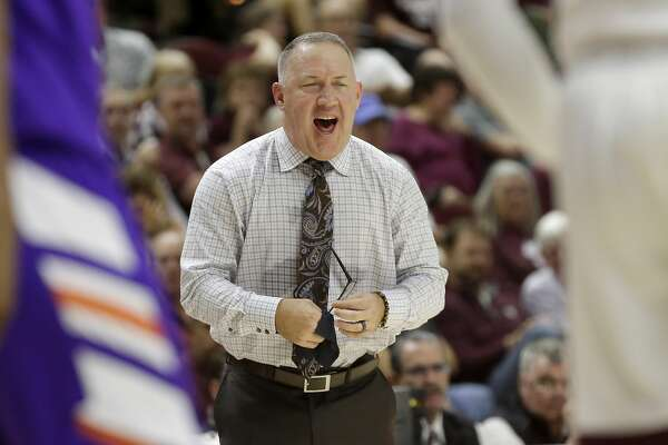 Texas A&M head coach Buzz Williams reacts after his team makes a basket against Northwestern State during the second half of an NCAA college basketball game Wednesday, Nov. 6, 2019, in College Station, Texas. (AP Photo/Sam Craft)
