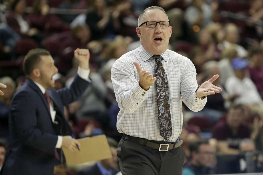 Texas A&M head coach Buzz Williams talks to his team during a timeout against Northwestern State during the second half of an NCAA college basketball game Wednesday, Nov. 6, 2019, in College Station, Texas. (AP Photo/Sam Craft) Photo: Sam Craft/Associated Press