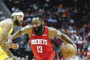 Houston Rockets guard James Harden (13) drives to the basket in the first half of game action at the Toyota Center on Wednesday, Nov. 6, 2019 in Houston.