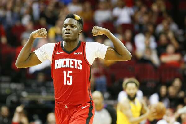 Houston Rockets center Clint Capela (15) reacts after he dunked the ball against Golden State Warriors in the second half of game action at the Toyota Center on Wednesday, Nov. 6, 2019 in Houston. Houston Rockets beat the Golden State Warriors 129-112.