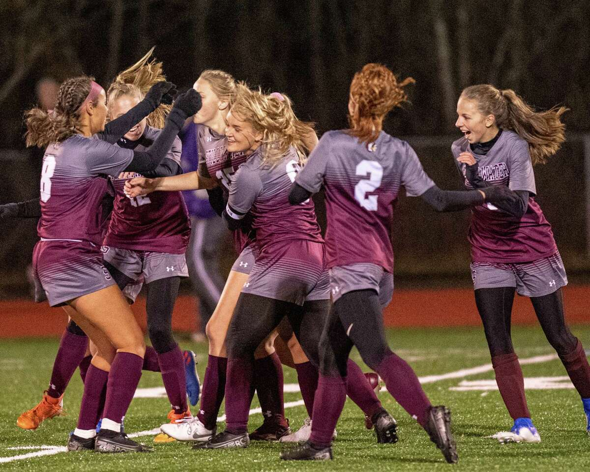 The Stillwater girls soccer team celebrates a goal against Voorheesville during the during the Section II, Class C finals at Mechanicville High School on Wednesday, Nov. 6, 2019 (Jim Franco/Special to the Times Union.)