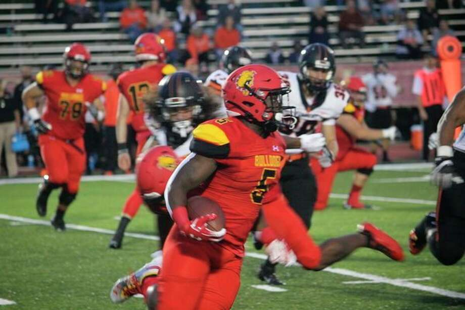 Marvin Campbell (5) and his Ferris teammates are ready to take on Grand Valley this Saturday. (Pioneer file photo)