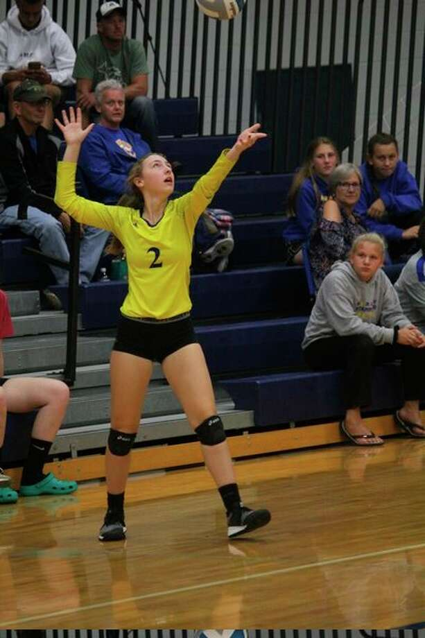 Emilee Cornell gets set to serve the ball for Morley Stanwood during recent action. (Pioneer photo/John Raffel)