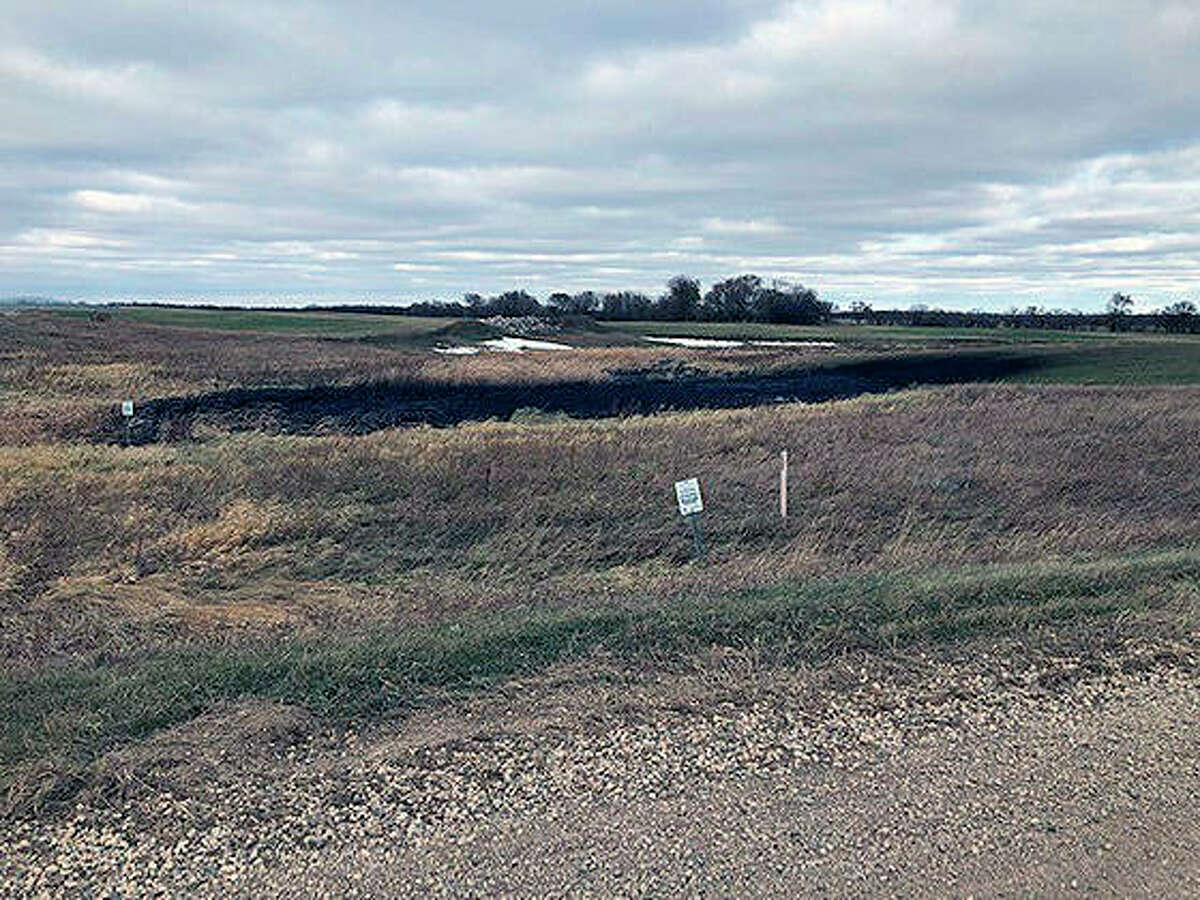 This is the land affected by a Keystone oil pipeline leak near Edinburg, North Dakota. Regulators said TC Energy's Keystone pipeline leaked an estimated 383,000 gallons of oil in northeastern North Dakota, though the cause was still under investigation.