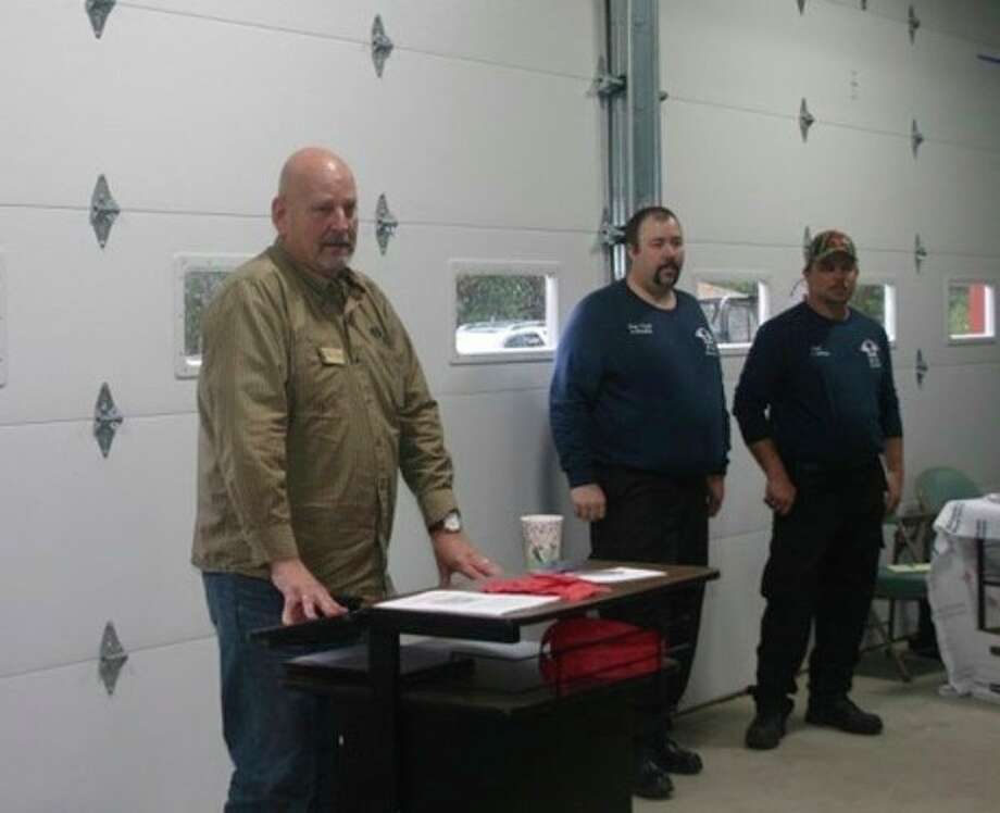 """Senator Curt VanderWall addressed the crowd at the Pleasant Plains fire department open house on Saturday, Nov. 1. """"The biggest thing I can say is 'Congratulations,'"""" he said."""