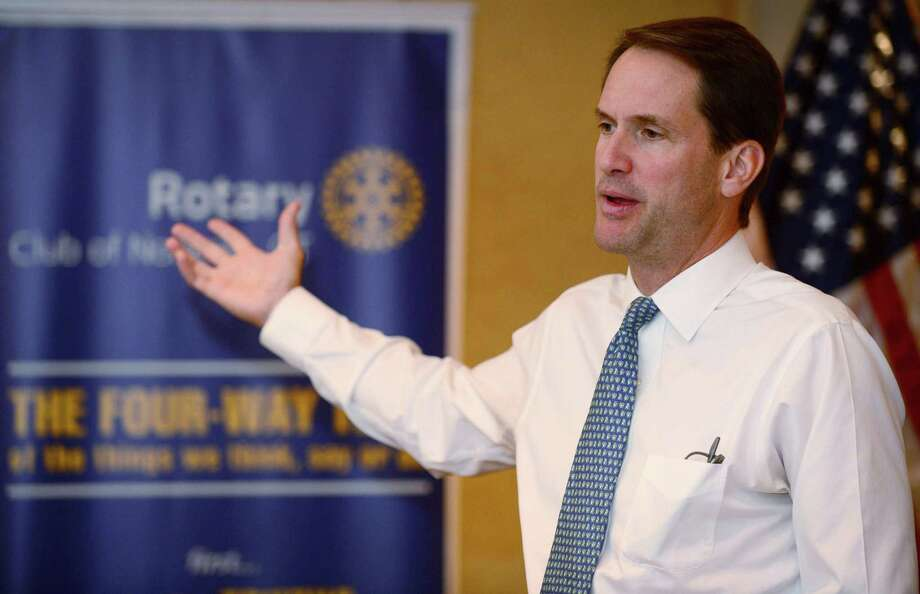 US Congressman Jim Himes visits with the Norwalk Rotary Club Wednesday, August 28, 2019, at the Norwalk Inn in Norwalk, Conn. Himes was invited to the Norwalk Rotary weekly meeting to give an update on his congressional work. Photo: Erik Trautmann / Hearst Connecticut Media / Norwalk Hour
