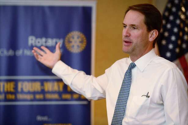 US Congressman Jim Himes visits with the Norwalk Rotary Club Wednesday, August 28, 2019, at the Norwalk Inn in Norwalk, Conn. Himes was invited to the Norwalk Rotary weekly meeting to give an update on his congressional work.