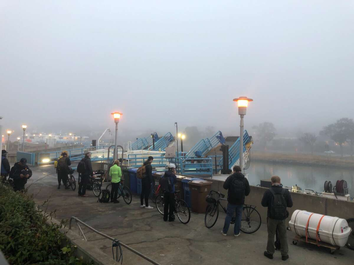 Golden Gate Ferry announced at 6:30 a.m. that trips between Larkspur and San Francisco may be delayed 5 to 10 minutes due to heavy fog.