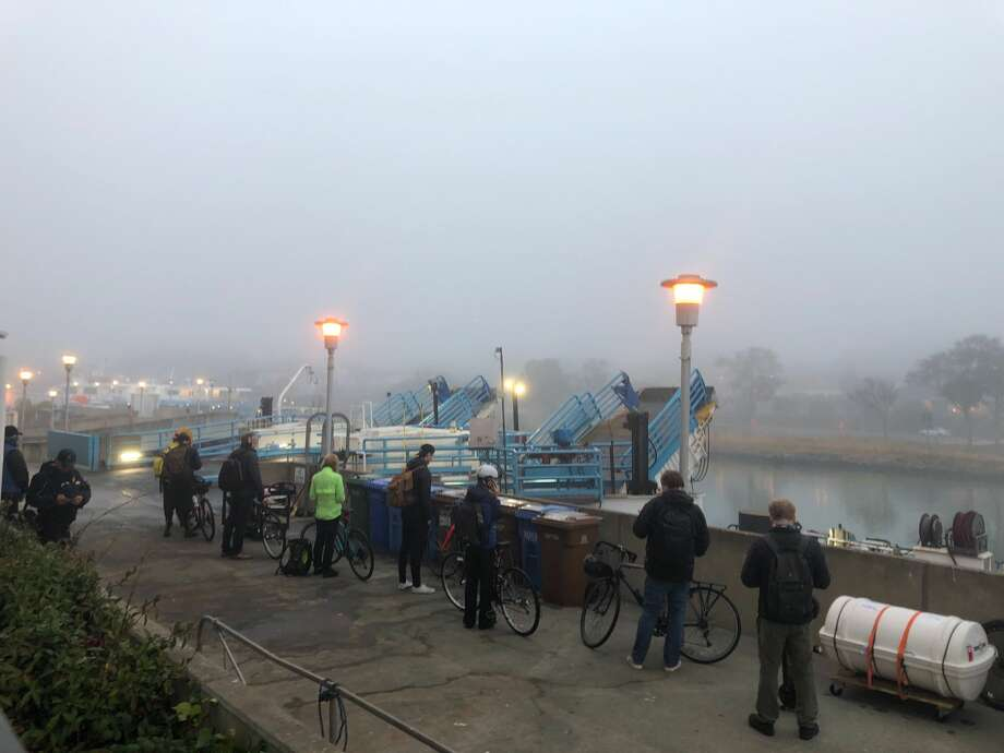 Golden Gate Ferry announced at 6:30 a.m. that trips between Larkspur and San Francisco may be delayed 5 to 10 minutes due to heavy fog. Photo: Bill Disbrow