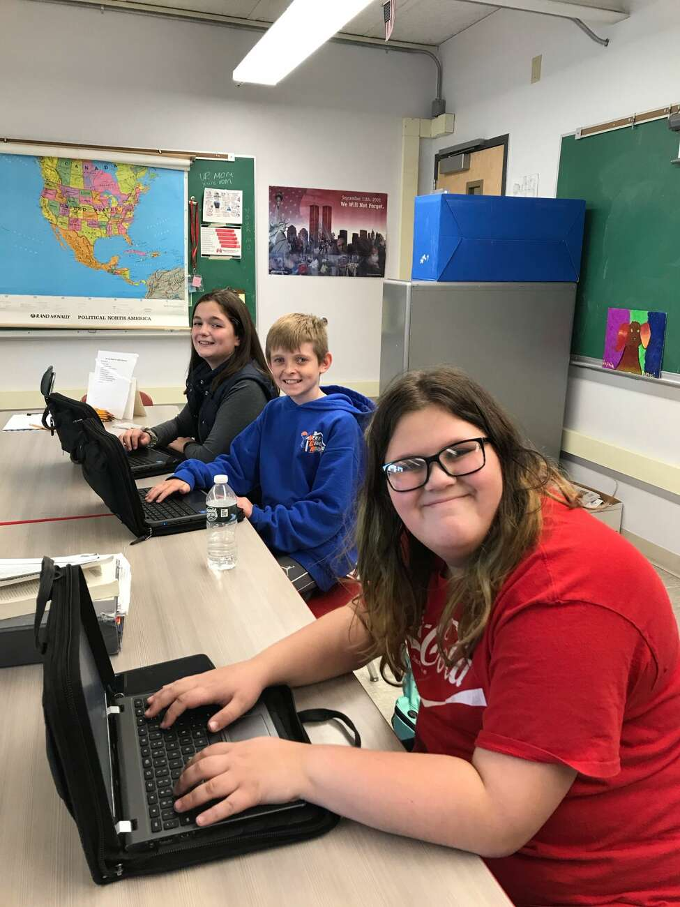 The Hope Fund helps provide after-school clubs at the Mechanicville Middle School, including students in the journalism club shown here.