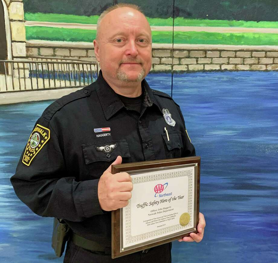Officer John Haggerty was named the 2019 AAA Northeast Traffic Safety Hero of the Year. Officer Haggerty was recognized along with his peers at a ceremony held on Oct. 31, 2019 in Bridgeport. Photo: Contributed Photo